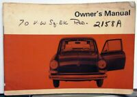 1970 Volkswagen 1600 Owners Instruction Manual - Type 3 Squareback & Fastback