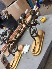 Lite 8 Match Pair Antique Brass Bronze Cherub Figural Three Arm Wall Sconce