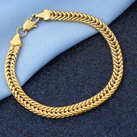 18K Yellow Gold Filled Unisex Women's Chain Engagement Jewelry Link Bracelet