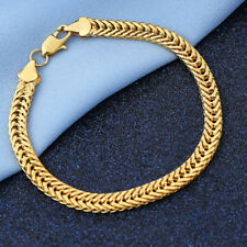 18K Yellow Gold Plating Copper Bracelet Bangle Chain Fashion Men Punk Jewelry