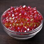 25pcs 6mm Cube Square Faceted Crystal Glass Loose Spacer Beads Red AB