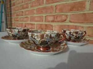 3 Antique Japanese Kutani Ware Porcelain Butterfly Cup & Saucer Sets (6 Pcs)