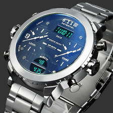 Mens Watch Quartz Digital White Hands Silver Stainless Steel Case Analog Luxury