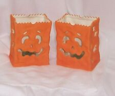 PartyLite 2 Halloween Luminary Hand Painted Porcelain Votive Holders Orange