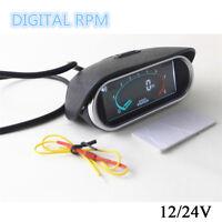 12/24v Excavator Boat Car Truck LCD Digital Tachometer Tach Gauge RPM Hour Meter