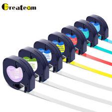 7PK Dymo Letra tag Refills Plastic 12mm Label Tape 16952 91330 91331 91332 91333