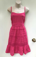 "NEW BOOM SHANKAR ""Didi Dress"" Hot Pink Cotton with Tucks/Ric Rac Lace sz 14"