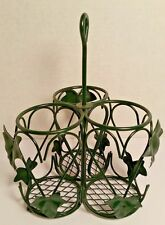 Utensil Holder Metal Green Leaf Caddy Table Top Picnic Party