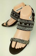 975b0a1bc84 Jeffrey Campbell TALLY Womens Heels Sandals 8.5 Black Leather Snake straps  5207