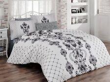 6 tlg Bettwäsche Bettgarnitur Bettbezug 100% Baumwolle Kissen 220x240 cm VINTAGE