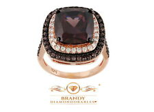 Brandy Diamondorables® Chocolate Brown 18K Rose Gold Silver Cushion Design Ring