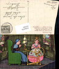 619160,Künstler AK Margret Boriss Märchen Dornröschen Spinnrad Rabe Turm