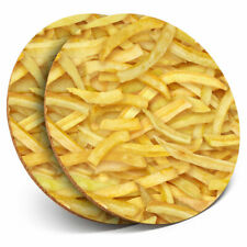 2 x Coasters - Potato Fries Chips Junk Food Home Gift #13177