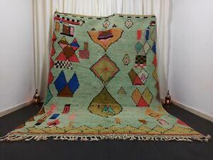 Moroccan Berber Boujad Green Rug 7' x 10' Large Handmade Diamonds Tribal Carpet
