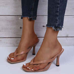 Women Stylish Summer Mid Heel Sandals Square Toe Flip Flop Slipper Party Slip On