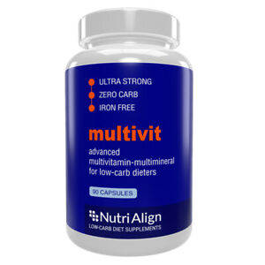 Nutri-Align Multivit for Keto and Atkins Diet. 100% Zero-Carb. 90 Capsules.