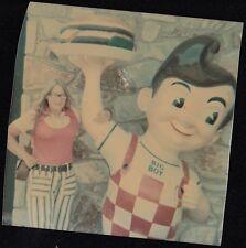 Vintage Photograph Woman Standing Next to Vintage Bob's Big Boy Statue