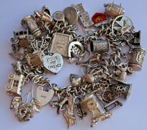 Amazing vintage solid silver charm bracelet & 43 charms, rare,open,move, 116.5g