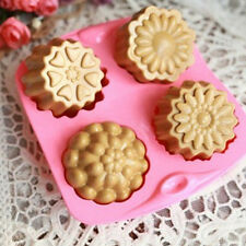 4-Mixed Heart Flower Cake Mold DIY Cookie Mould Flexible Silicone Chocolate