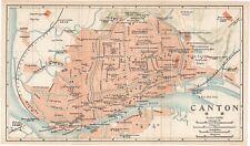 Original 1915 very rare map of Canton - Guangzhou, China- 广州市
