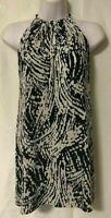 Womens Keyhole Neckline Black & White Mini Shift Dress Moda&Cia Peru Size 1 EUC