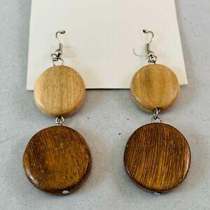 Artisan Brown Wood Round Beaded Drop Dangle Earrings Boho Chic Tribal New 27Z