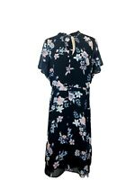 Torrid s18 Floral dress midi fit and flare tie peek a boo neck plus size trendy