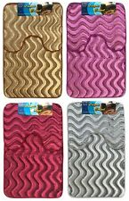 Bath Pedestal Mat set wavy shimmery velvet  Soft Luxury Bathroom Rugs Anti Slip