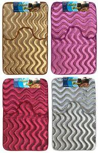 Bath Pedestal Mat set wavy shimmery velvet  Soft Luxury Bathroom Rugs Anti Slip
