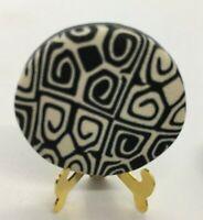 "Vintage Handmade Fimo TECHNIQUE POLY CLAY BUTTON ""Black & White Gray Back Set 11"