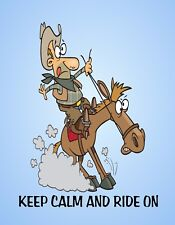 METAL MAGNET Cowboy Riding Horse Stop Fast Keep Calm Ride On Humor Horses MAGNET