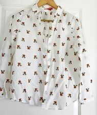 HSTYLE WOMENS SHIRT BUTTON REINDEER PRINT COTTON SLEEVES SZ S