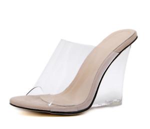 Womens Trendy Summer Peep Toe PVC Slippers Clear Wedge High Heels Sandals Shoes
