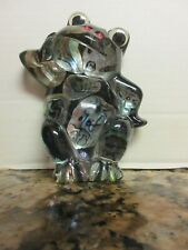 Vintage Sassy Lucite Plastic Frog Figurine Googly Eyes Abalone Shell