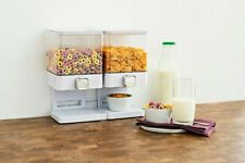 DOUBLE CEREAL DISPENSER MACHINE White Plastic Storage Container Dry Food Rice