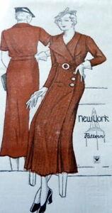 RARE VTG 1930s DRESS NEW YORK Sewing Pattern BUST 48 FF