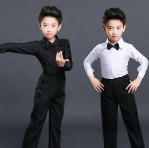 Boys Dance Shirt Pants Youth Ballroom Salsa Samba Smooth Latin Tango Garment Set