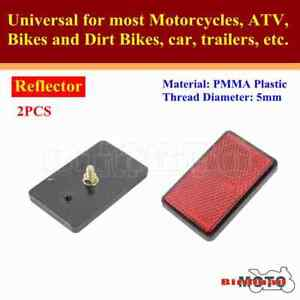 5mm Rectangle Reflector Red Universal For Motorcycles ATV Dirt Bikes Car Truck