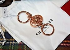 COACH SIGNATURE C VALET TURNLOCK KEY RING KEY CHAIN ROSE GOLD TONED NEW