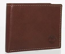 Timberland Thin Slimfold Wallet Genuine Leather Mens Billfold Slim ID Cards Case Brown