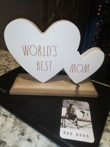 """RAE DUNN """"WORLDS BEST MOM"""" Hearts Plaque New With Tags White/Red Metal/Wood"""