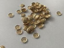 100 filigrane Perlkappen Perlenkappen 9 mm gold Spacer Schmuck basteln R243