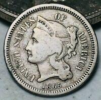 1865 Three Cent Nickel Piece Coin 3C Higher Grade Civil War Date US Coin CC5263