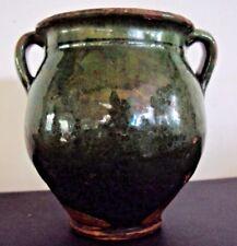 jolie petite poterie pot a graisse en terre cuite vernissée verte 19 ème