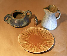 Alexandre Bigot Lot Sugar Bowl/Pitcher/Plate Art Nouveau Antique French Pottery