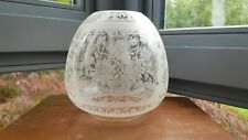 "Ornate Antique Floral Flower Acid Etched Oil Lamp Globe Ball Shade Duplex 4"""