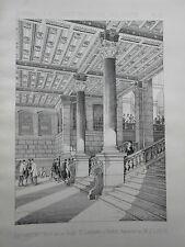 RECONSTRUCTION GARE St-LAZARE PARIS 1887 vintage print / gravure architecture