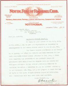 Nottingham Forest Manager 1934/35 G Noel Watson Signed Letter AFTAL/UACC RD