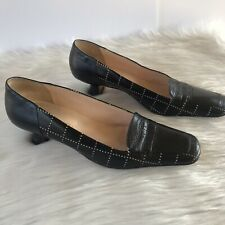 Auth CHANEL Black Leather CC Logo Pumps Heels Sz 39
