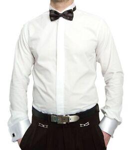 Wedding Dress Shirt Men's Shirt White + Bow Tie Tuxedo Collar Wedding Shirt